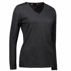 Трикотажний жіночий пуловер з V-подібним вирізом